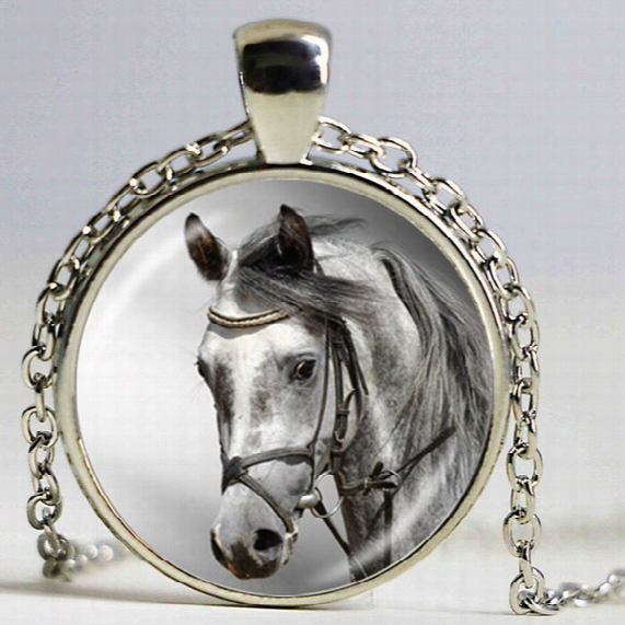 Vintage Circus Horse Necklace Big Animal Jewelry Bronze Chain Necklace Glass Cabochon Art Pendant For Women Collare Jewellery