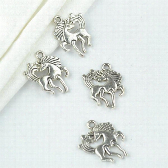 Wholesale 125pcs Vintage Silver Plated Horse Charms Metal Pendants For Necklace &  Bracelets Jewelry Making 20*16mm 2134