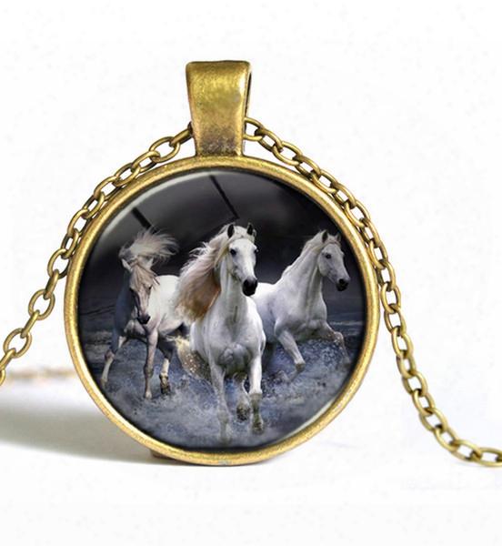 Wholesale-2pcs Europe Retro Necklace Pentium Horses Short Of Fashion Necklace Sweater Chain Y073