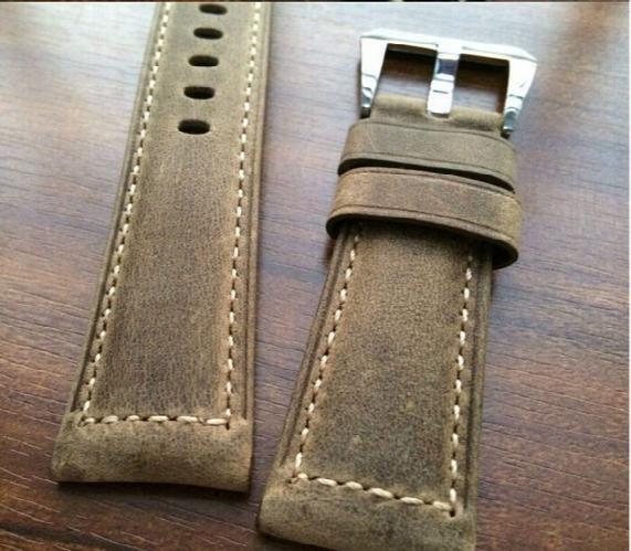 Wholesale-brown Crazy Horse 24mm / 26mm Calfskin Strap, For Panerai Retro Watchbands, Classic Men's Watchbands