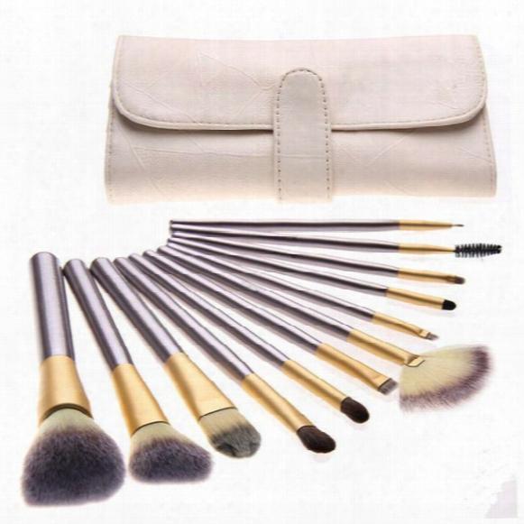 Wholesale High Quality 18pcs/ Set Make Up Brush Champagne Classic Toiletry Kit Wool Ocsmetic Face Eyebow Brush Set