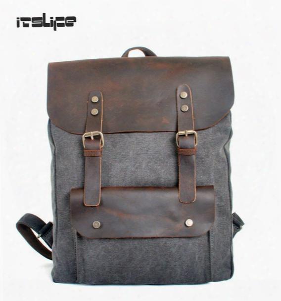 Wholesale- High Quality Vintage Fashion Casual Canvas Crazy Horse Leather Women Men Backpack Backpacks Shoulder Bag Bags For Lady Rucksack