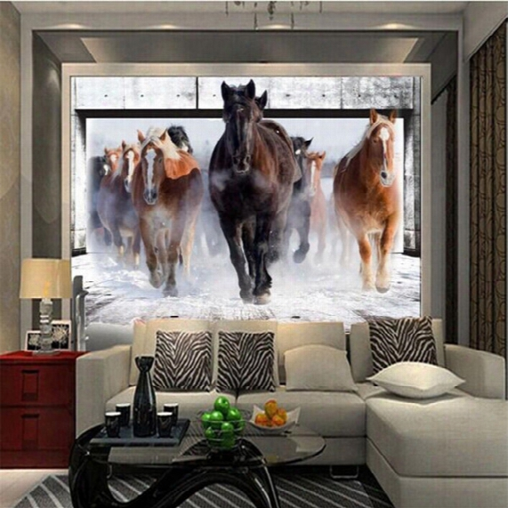 Wholesale-modern Photo Wallpaper 3d Stereo Horses Galloping Bedroom Living Room Sofa Tv Background Wall Mural Wallpaper Flash Silver Cloth