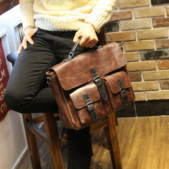 Wholesale-new Fashion Handbags Famous Brand Men Messenger Bags Crazy Horse Leather Briefcase Vintage Mens Handbag Bolsas Man Travel Bag