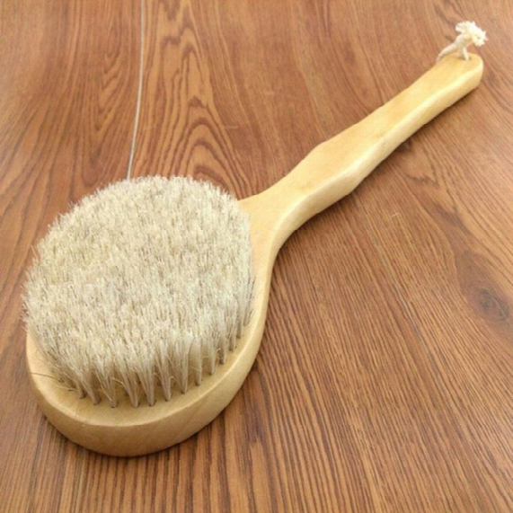 Wholesale-new Natural Bristle Long Horse Hair Handle Wooden Wood Bath Shower Body Back Brush Spa Scrubber