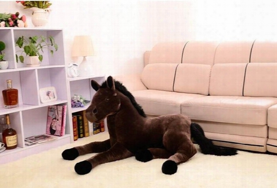 Wholesale- Stuffed Animal Prone Horse Plush Toy About 70x40cm Simulation Horse Doll, Christmas Gift W2242