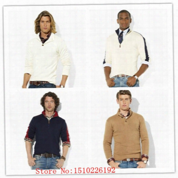 Wholesale-wholesale Men's Polo Sweater, Long Sleeve Coat, Men Cardigan, High Quality Fashion Knitted Outwear Zipper