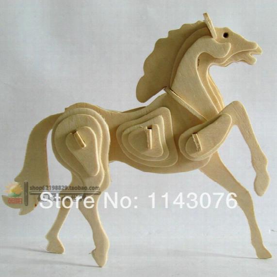 Wholesale-wool 3d Puzzle Animal Model Wooden Puzzle Zodiac Horse