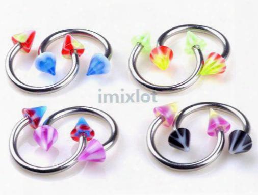 Womens Horseshoes Eyebrow Piercing 100x 18g Eyebrow Rings Spike Circulars Imixlot Body Jewelry Free Shipping[ba16*100]