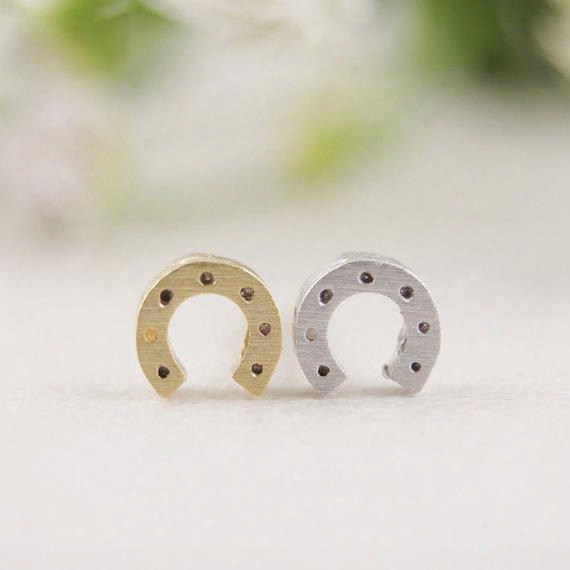 10pcs/lot Fashion Jewelry New Wholesale Gold Silver Horseshoe Stud Earrings Ed032
