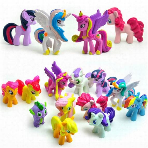 12 Pcs/set 3-5cm Cute Pvc Horse Action Toy Figures Toy Dolll Earth Ponies Unicorn Pegasus Alicorn Bat Ponies Figure Dolls For Gir