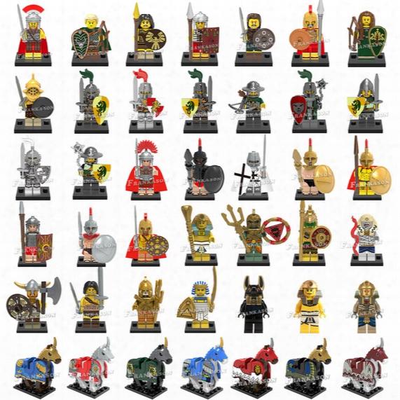 120pcs/lot Mix Order Medieval Figures Atlantis Viking Egyption Warriors Dragon Knights Spartacus Armored Horse Mini Building Blocks Figure