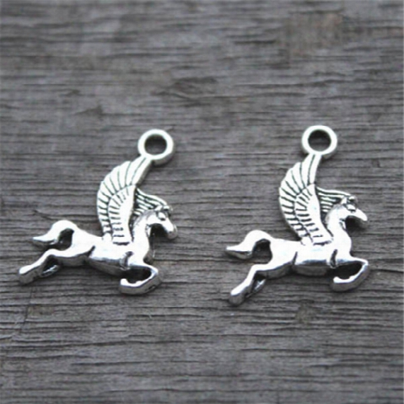 30pcs-pegasus Charms, Antique Tibetan Silver Lovely Flying Horse Charm Pendant 17x15mm