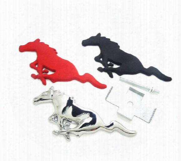 3d Silver Horse Logo Metal Alloy Car Auto Front Hood Grille Emblem Sticker For Ford Mustang Universal New