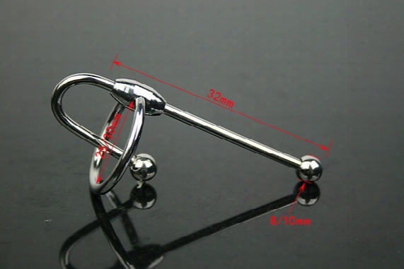 Short Stroke Ball Tipped Stainless Steel Penis Plug Sound With Glans Ring Stainless Steel Male Urethral Sex Toy