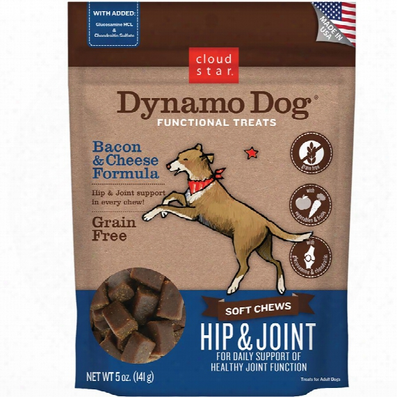 Cloud Star Dynamo Dog Functional Treats - Hip & Joint - Bacon & Cheese (5 Oz)