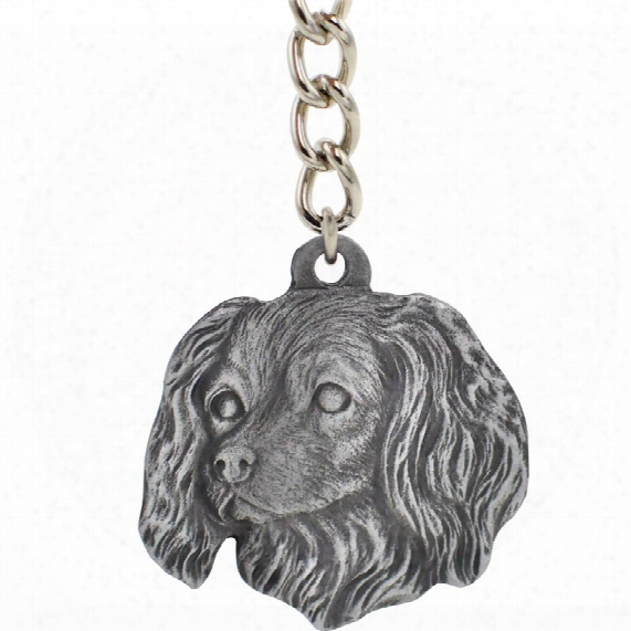 "Dog Breed Keychain Usa Pewter - Cavalier King Charles Spaniel (2.5"")"