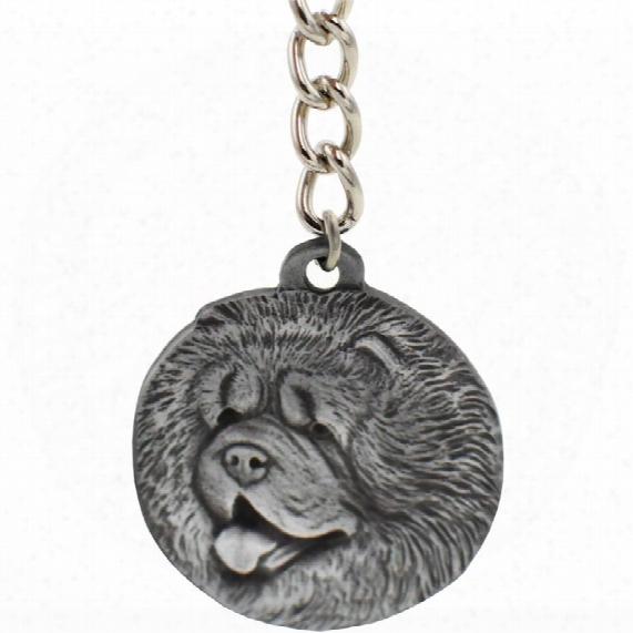 "Dog Breed Keychain Usa Pewter - Chow Chow (2.5"")"