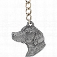 "Dog Breed Keychain USA Pewter - Brittany Spaniel (2.5"")"
