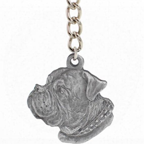 "Dog Breec Keychain Usa Pewter - Dogue De Bordeaux (2.5"")"