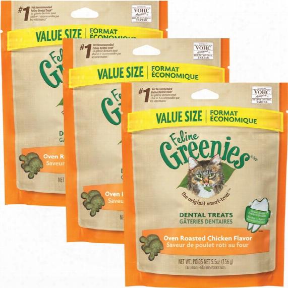 3-pack Greenies Feline Dental Treats - Oven Roasted Chicken Flavor (16.5 Oz)
