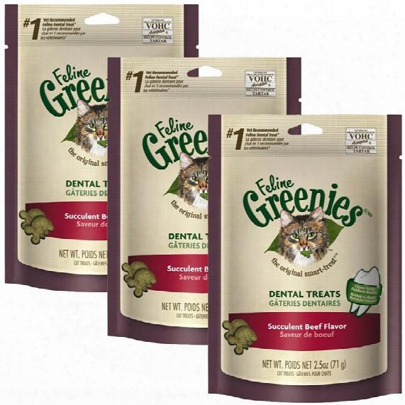 3-pack Greenies Feline Dental Treats - Succulent Beef Flavor (7.5 Oz)