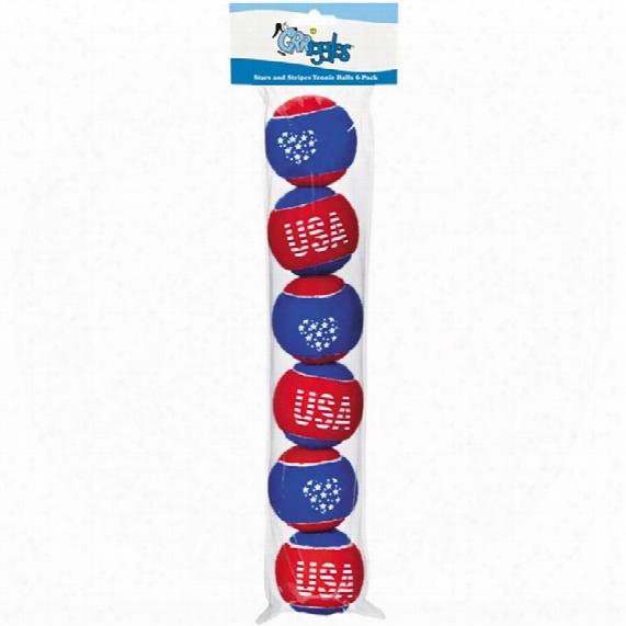 Grriggles Stars And Stripes Tennis Balls 6 - Packs