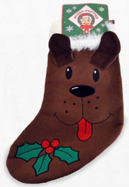 Kyjen Plush Puppies Holiday Stocking - Brown