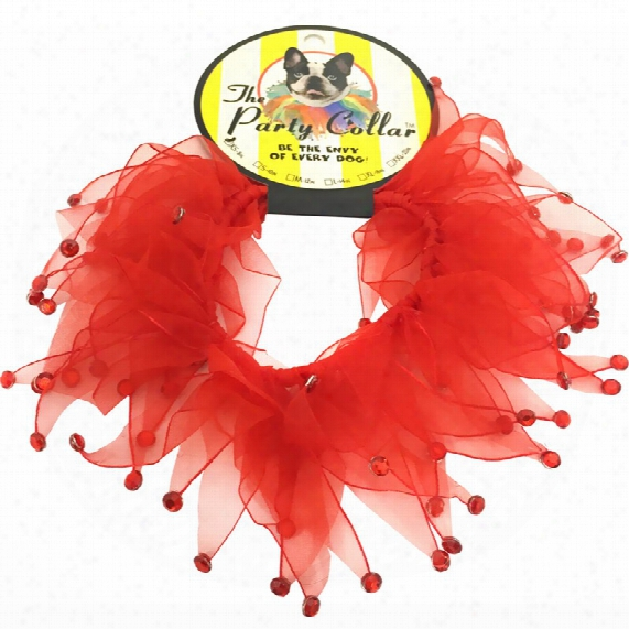 """Holiday Party Collar - Red Rhinestones - Large (14"""")"""