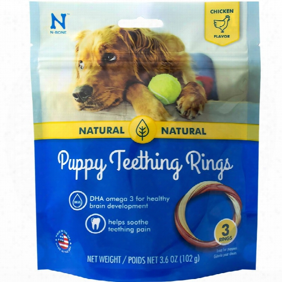 N-bone Puppy Teething Ring Chicken Flavor - 3 Pack (3.6 Oz)