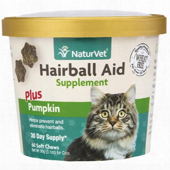 Naturvet Hairball Aid Supplement Plus Pumpkins (60 Soft Chews)