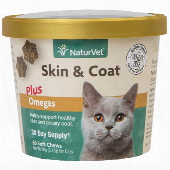 Naturvet Skin & Coat Plus Omegas For Cats (60 Soft Chews)