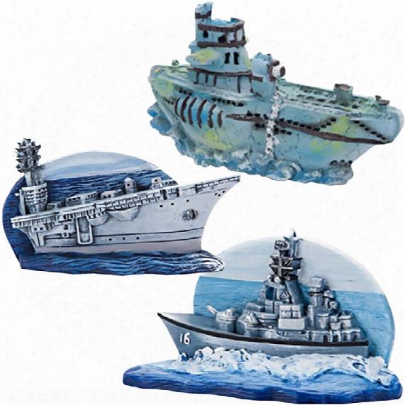 Navy Carrier & Sub Aquarium Ornament Set