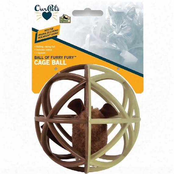 Ourpets Play-n-squeak Cage Ball Cat Toy - Ball Of Furry Fury