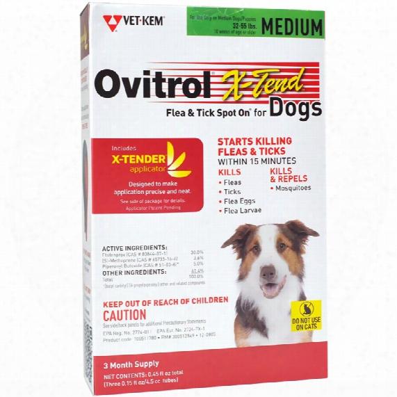 Ovitrol X-tend Flea & Tick Spot On For Medium Dogs (32-55 Lbs) - 3 Month