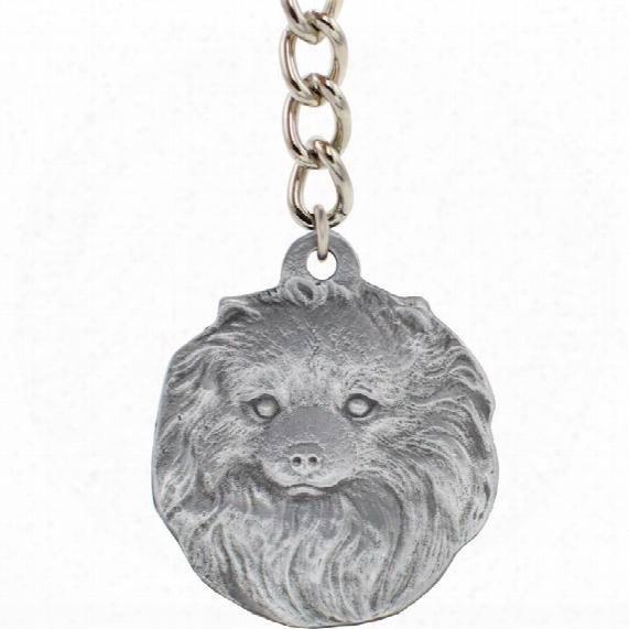 """Dog Breed Keychain Usa Pewter - Pomeranian (2.5"""")"""