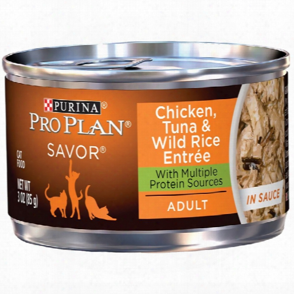 Purina Pro Plan Savor - Chicken, Tuna & Wild Rice Entrã©e In Sauce Canned Mature Cat Food (24x3 Oz)