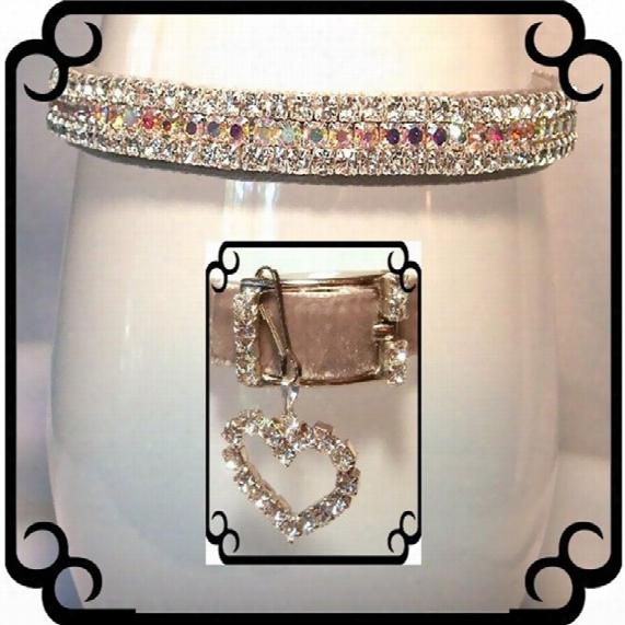 Rhinestone Dog Collars - Silver Velvet Sparkle # 293 (medium)