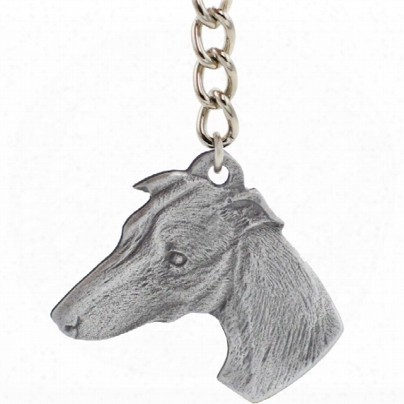 "Dog Breed Keychain Usa Pewter - Whippet (2.5"")"