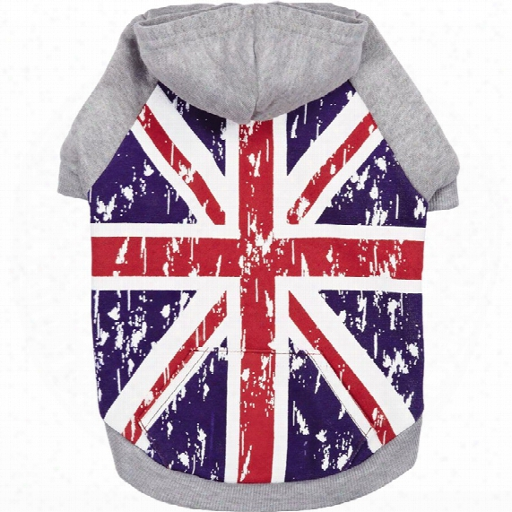 Zack & Zoey Distressed British Flag Hoodie - Large