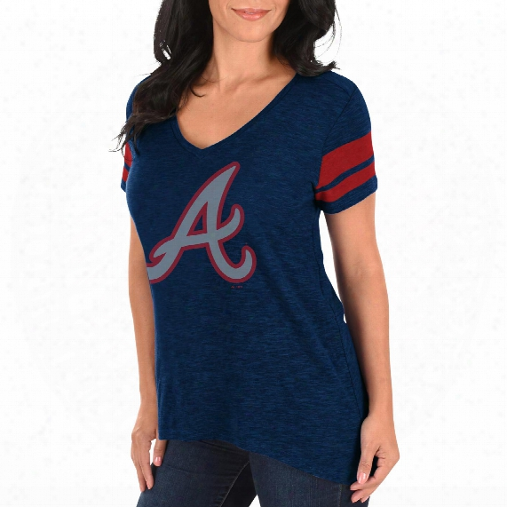Atlanta Braves Women's Check The Tape V-neck T-shirt