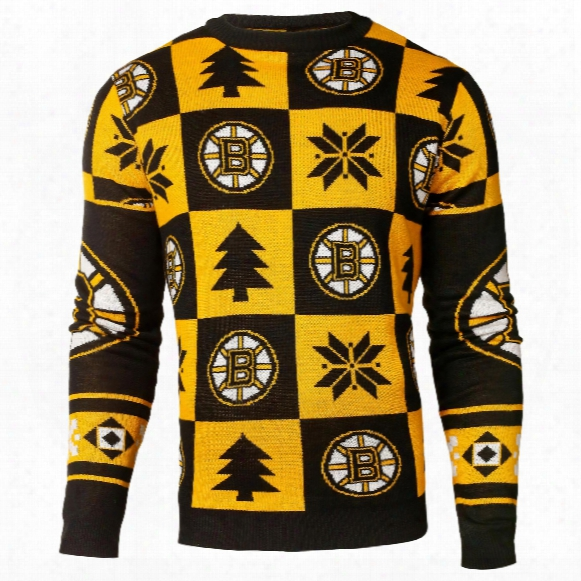 Boston Bruins Nhl Patches Ugly Crewneck Sweater