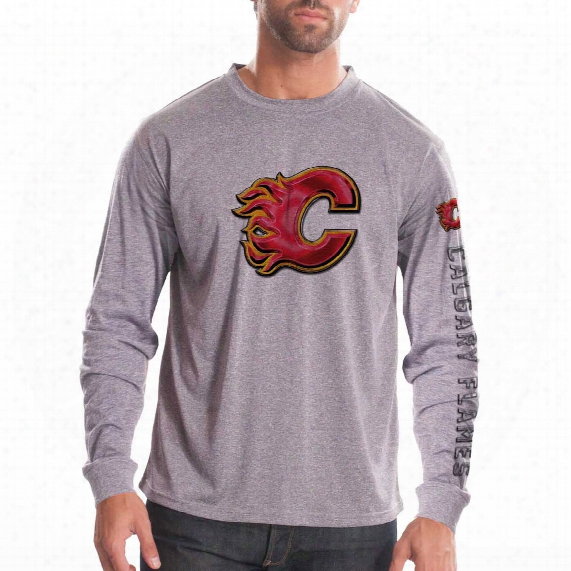 Calgary Flames Chrome Fx Long Sleeve T-shirt (heather Pebble)