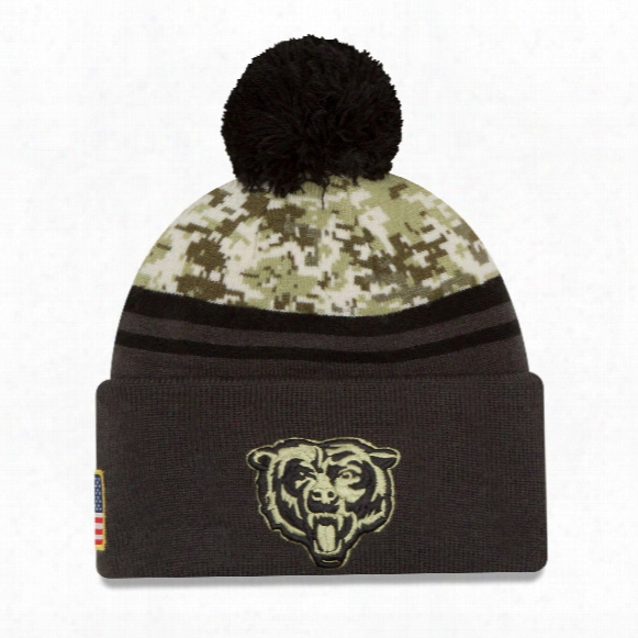 Cnicago Bears New Era 2016 Nfl Salute To Service Pom Knit Hat