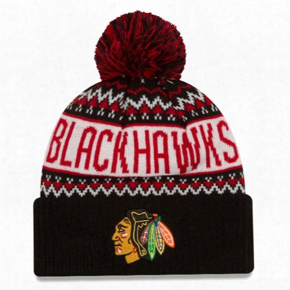 Chicago Blackhawks Nhl Wintry Pom Knit Hat