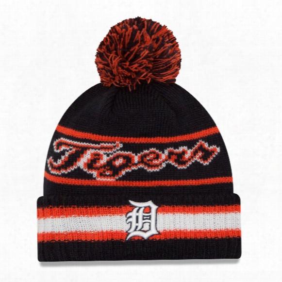 Detroit Tigers New Era Mlb Cuffed Vintage Select Pom Knit Hat