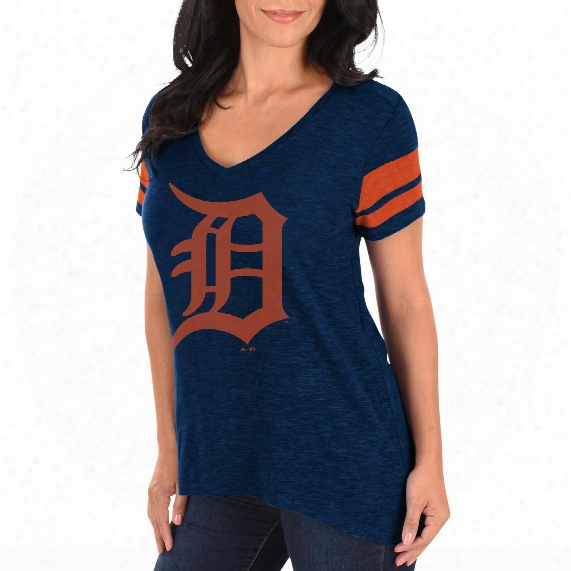 Detroit Tigers Women's Check The Tape V-neck T-shirt