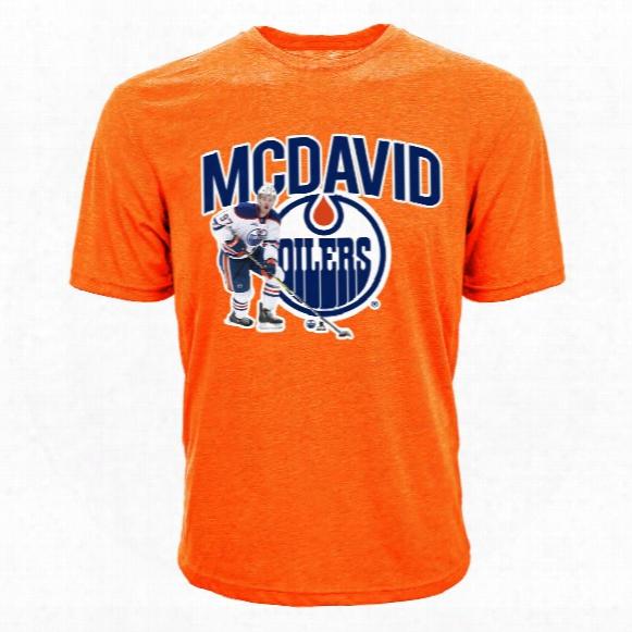Edmonton Oilers Connor Mcdavid Nhl Action Pop Applique T-shirt