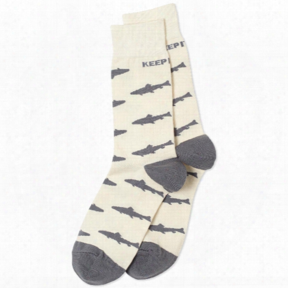 Life Is Good Men's Keep It Reel Shark Crew Socks