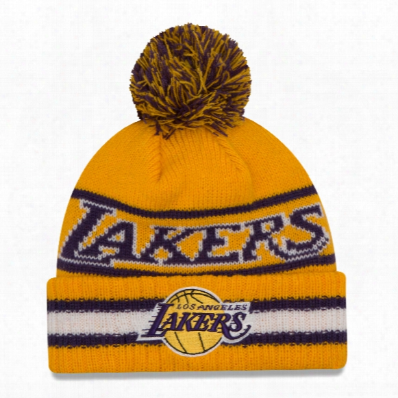 Los Angeles Lakers New Era Nba Cuffed Vintage Select Pom Knit Hat